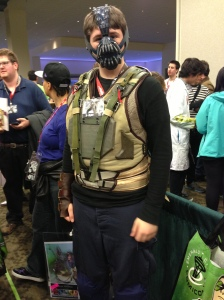 Thomas as Bane (the jolliest looking Bane I ever did see...)